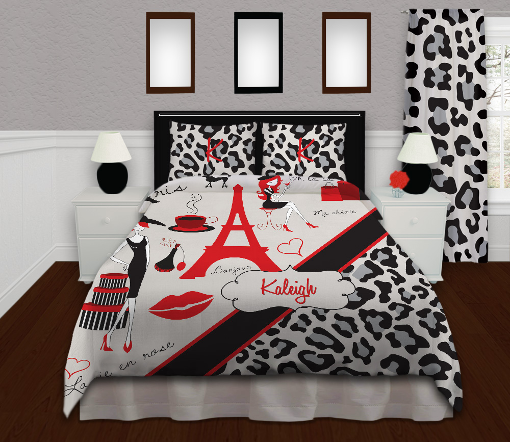 Red And Black Paris Bedding For Teens With Gray Cheetah