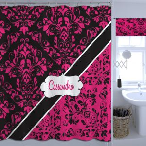 Personalized Pink And Black Shower Curtain Victorian Fabric 29