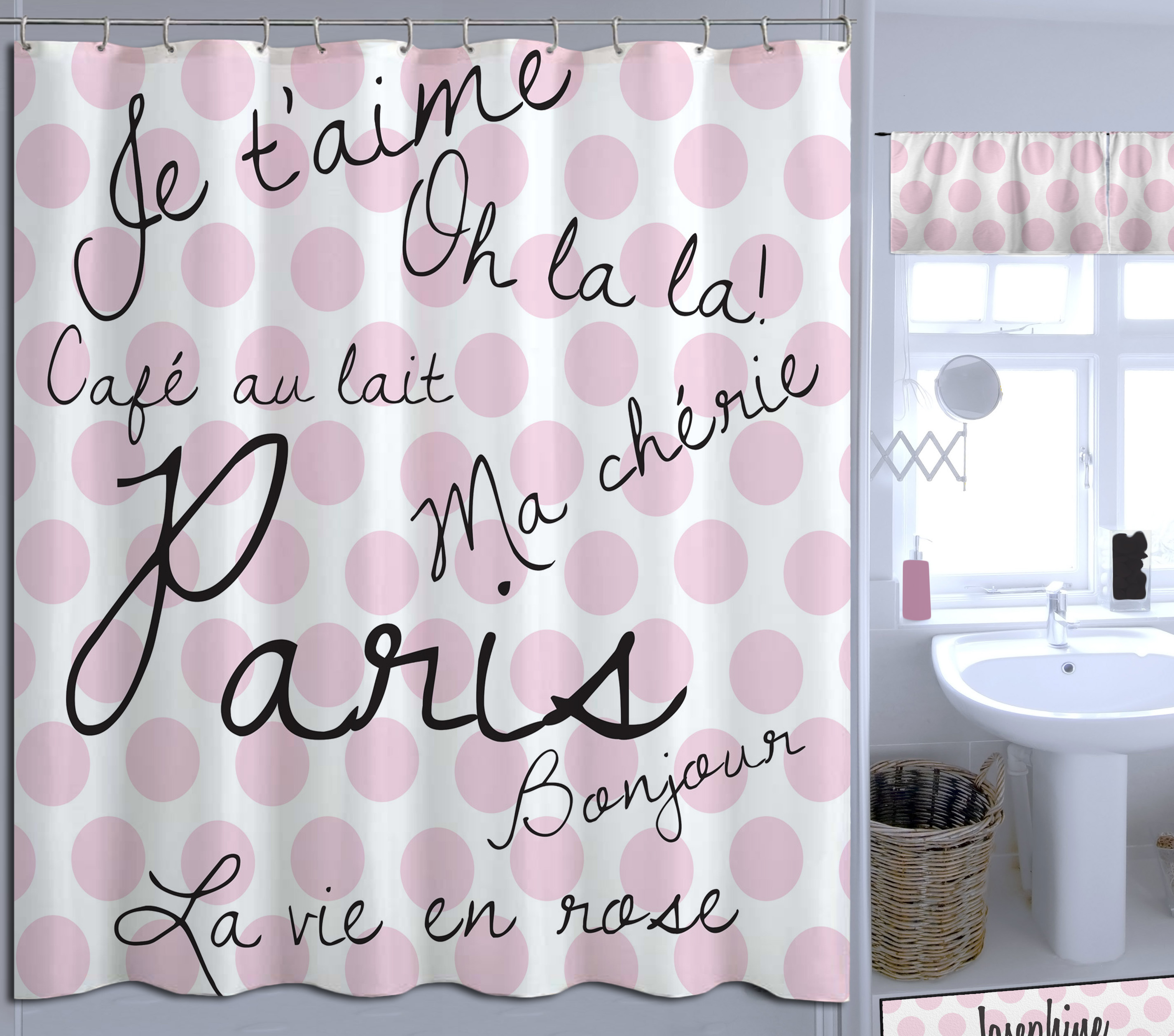 Pink And White Polka Dot Girls Shower Curtain Has Paris