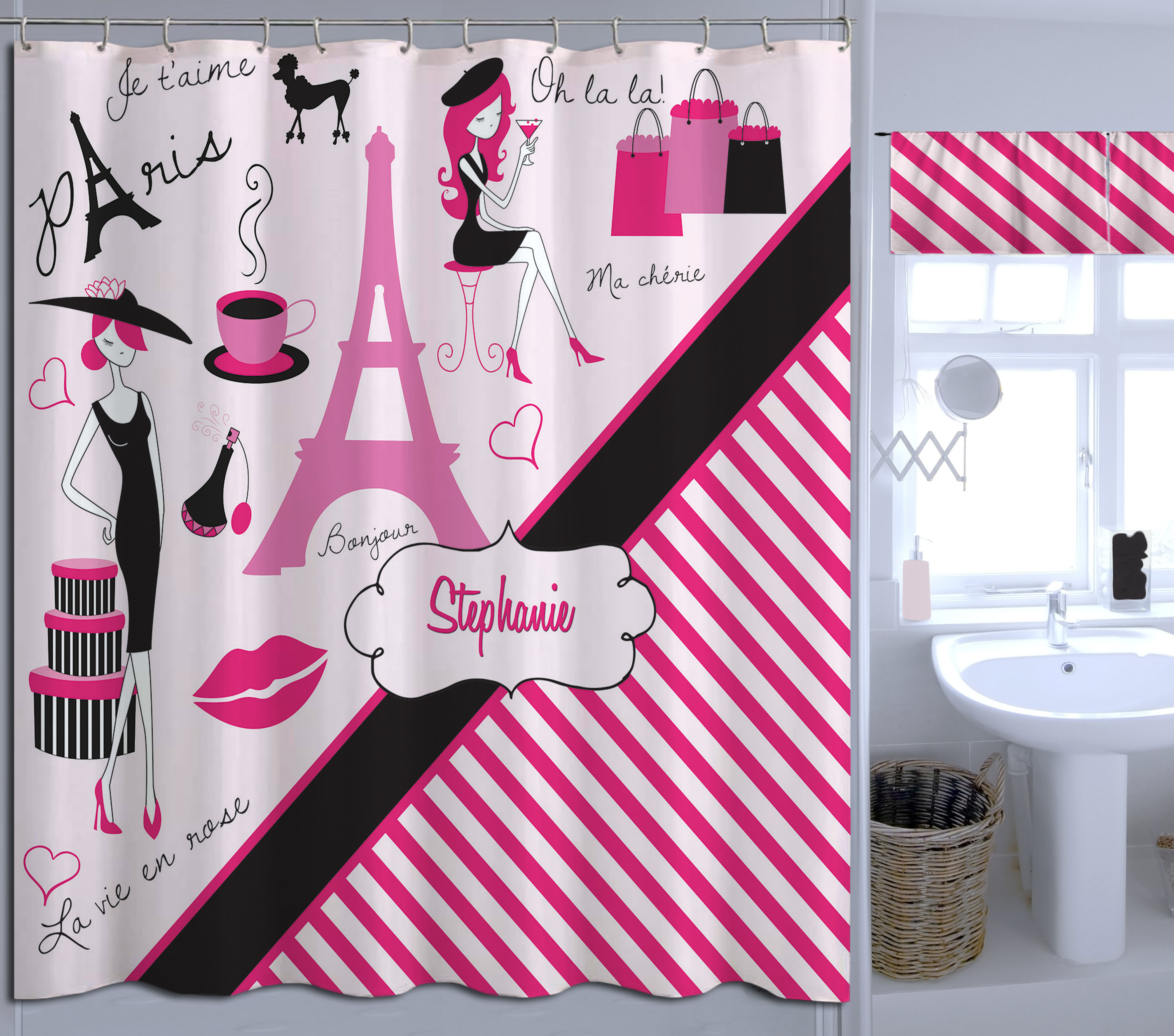 Girls Paris Bathroom Decor, Pink Striped Shower Curtain