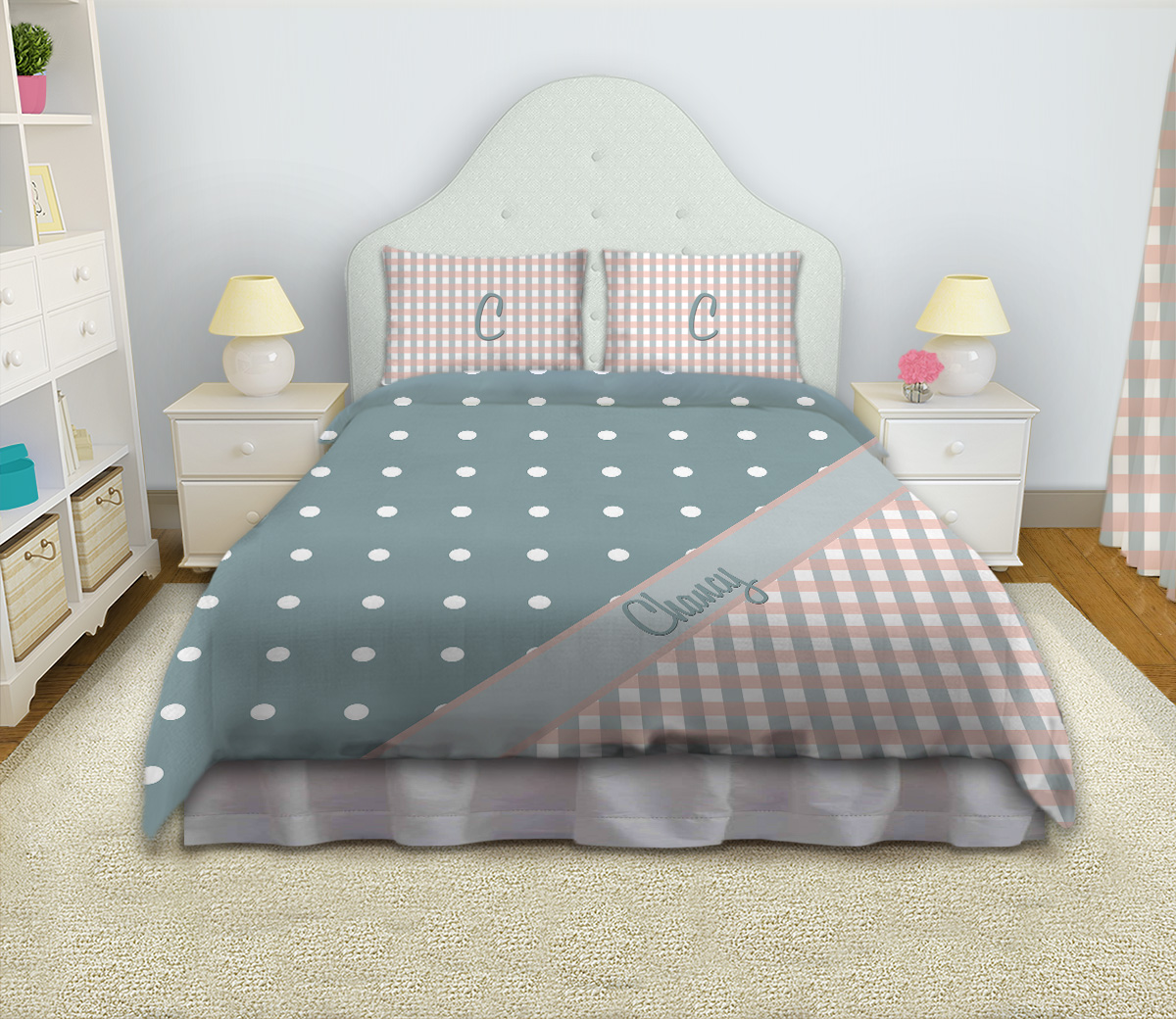 light blue girls comforter set queen king or twin with plaid polka dots 41 eloquent. Black Bedroom Furniture Sets. Home Design Ideas