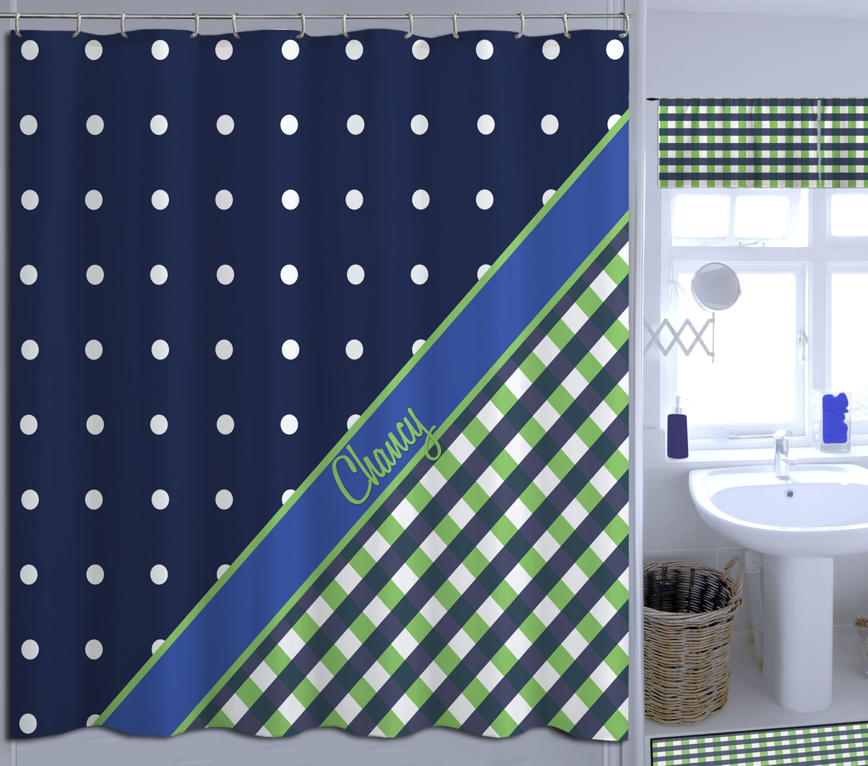 Navy Blue And Green Plaid Polka Dots Shower Curtain Great For
