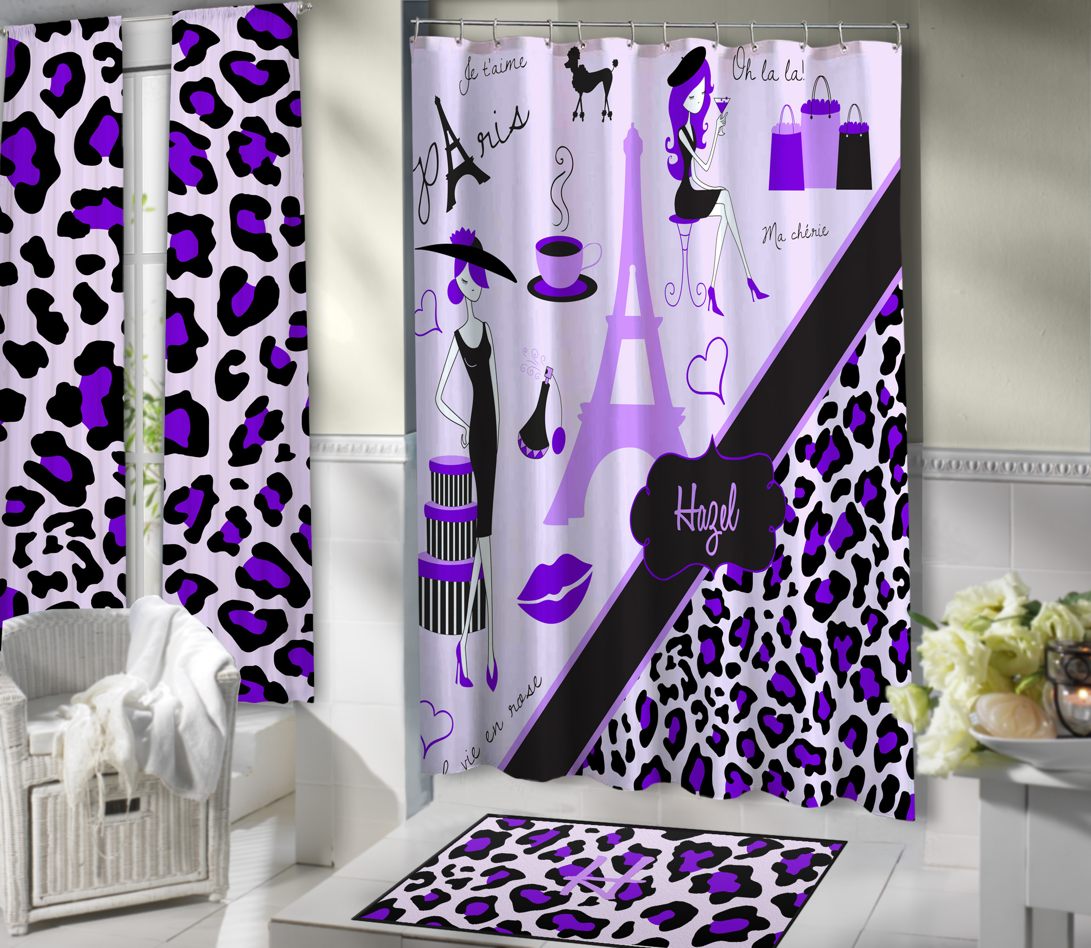 Paris Girls Shower Curtain With Purple Eiffel Tower And
