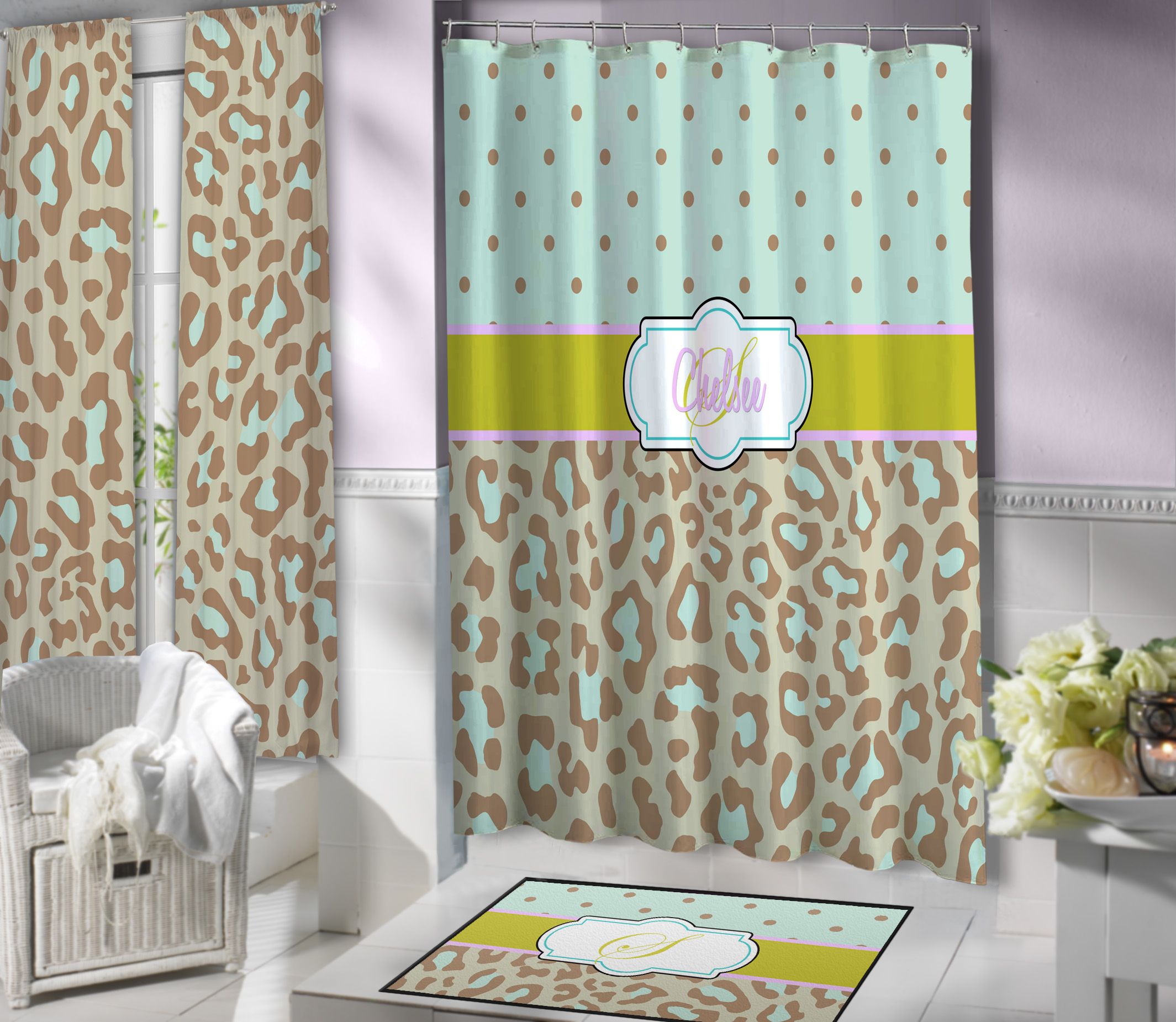 Cute Animal Print Shower Curtain For Girls With Mint Green Cheetah Print 114