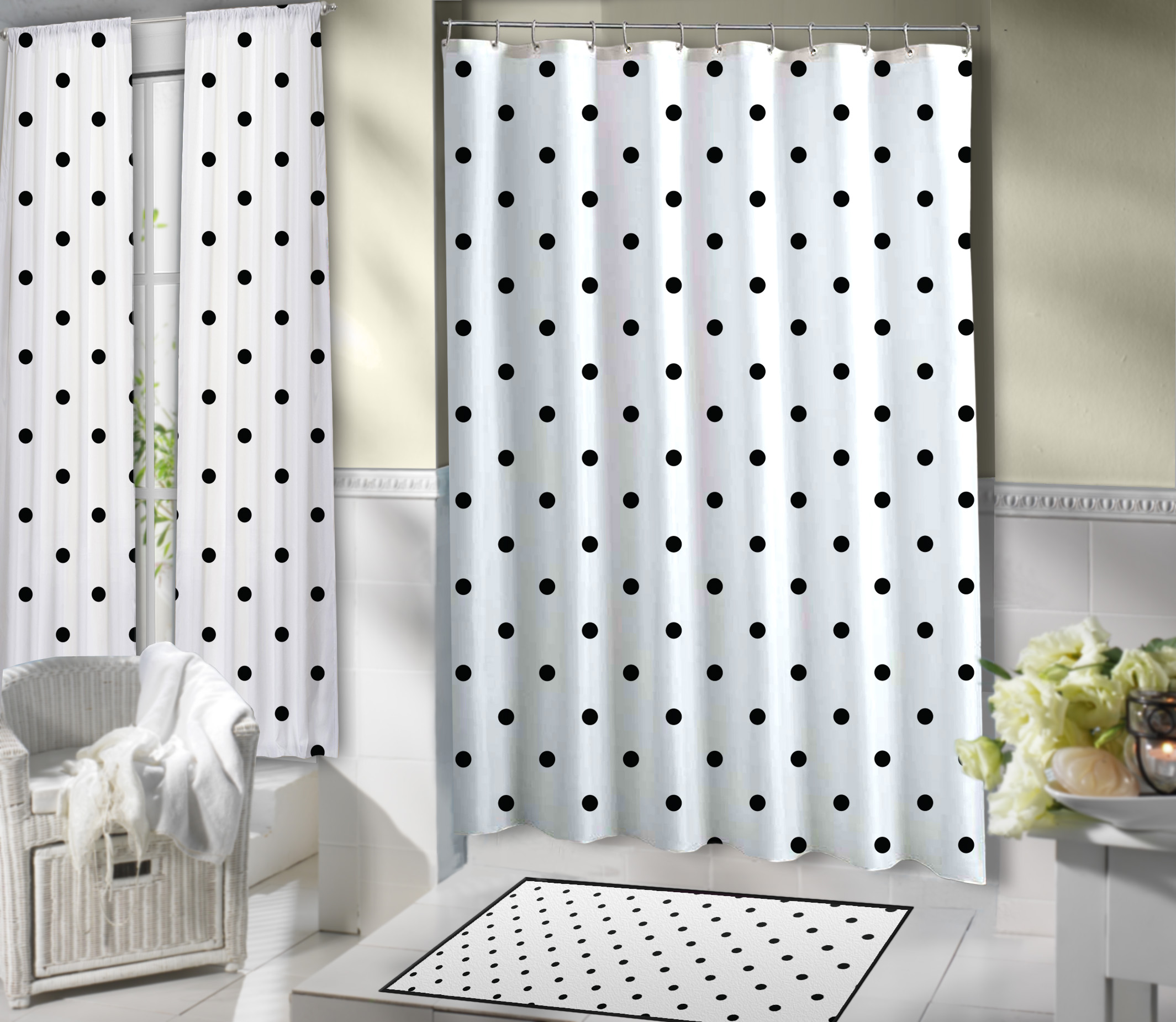 Shower Dots Elegant Polkadots Black White Curtain