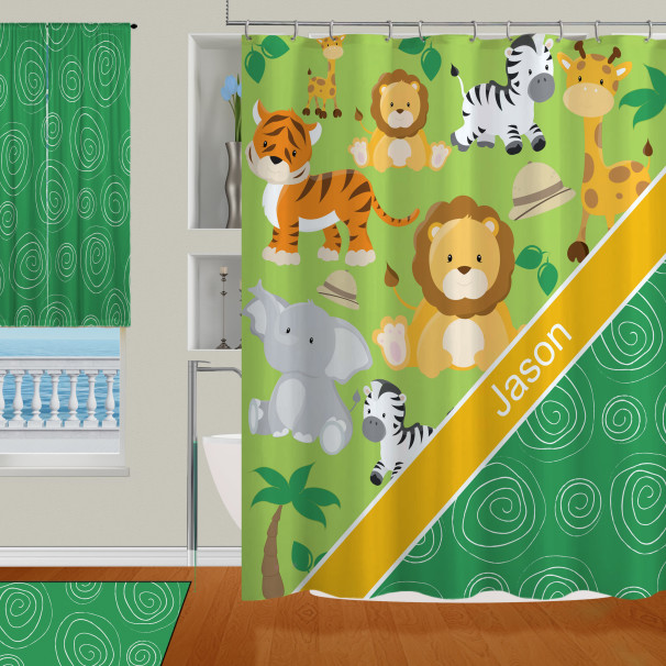 Jungle Yellow And Green Animal Shower Curtain For Kids Boys