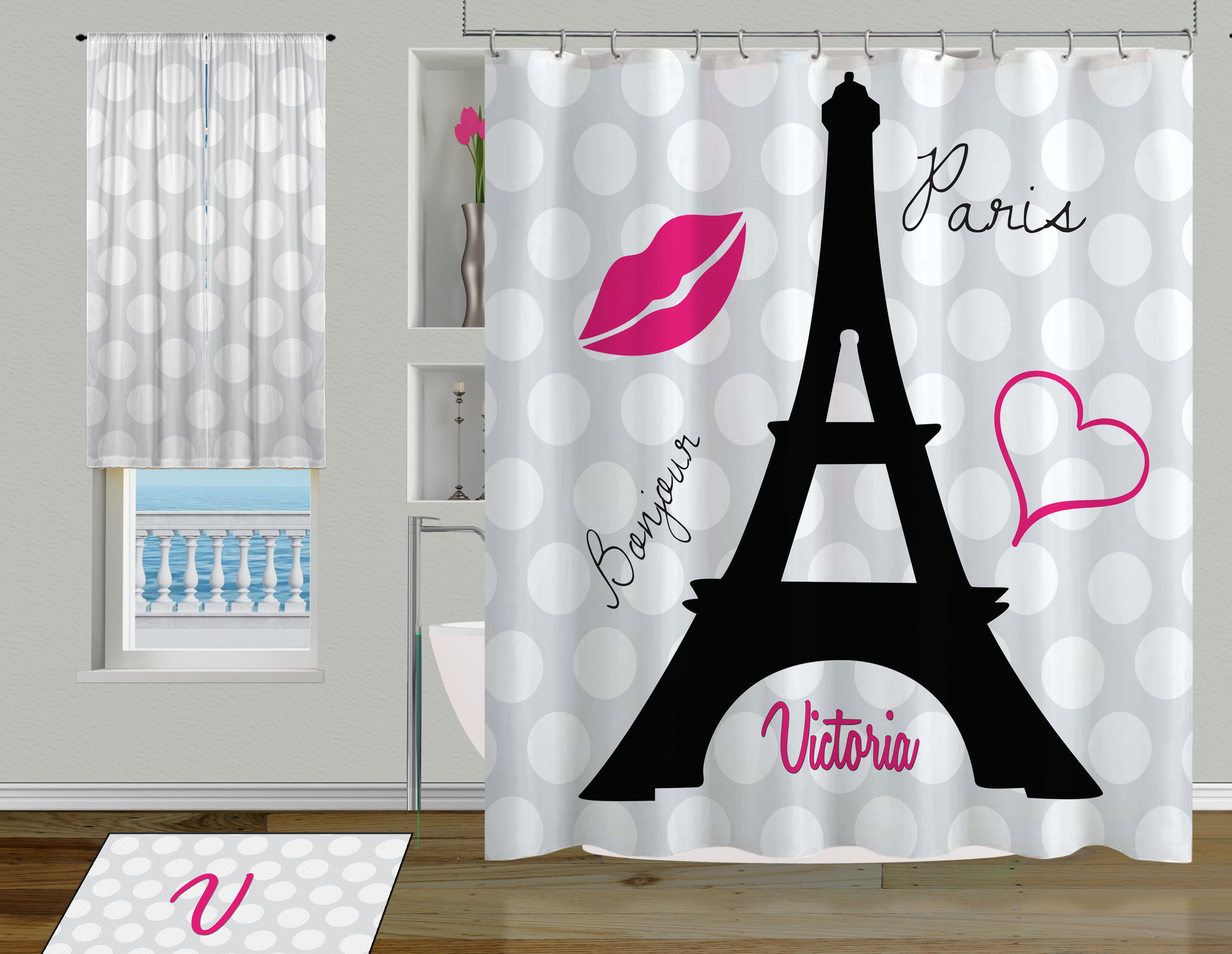 Black And White Eiffel Tower Shower Curtain Cute Paris