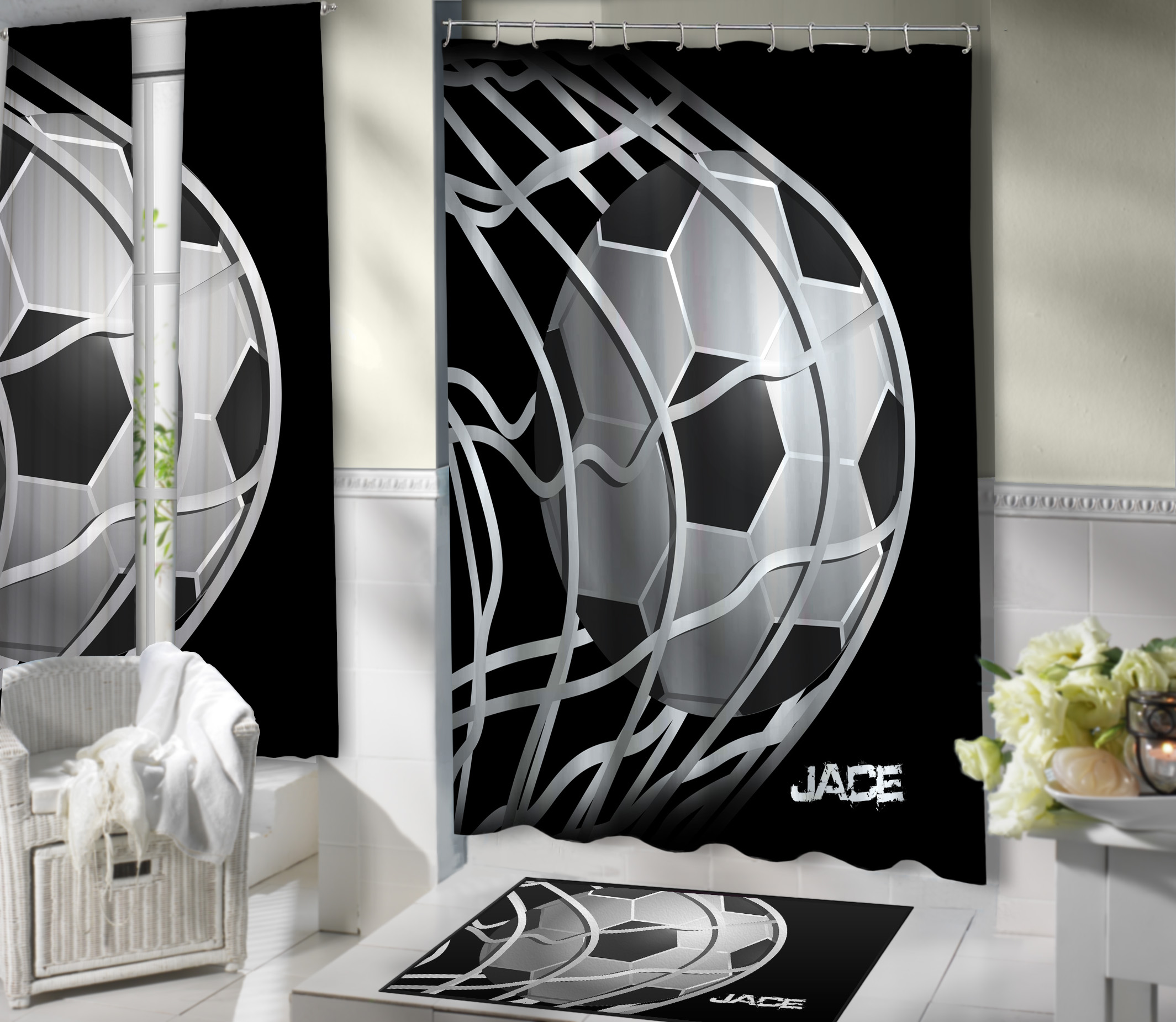 Black and white soccer themed shower curtain great sports for Sports themed bathroom ideas