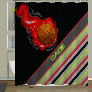 Basketball Boys Bathroom Shower Curtain Flames Stripes Of Gray Green And Red 55