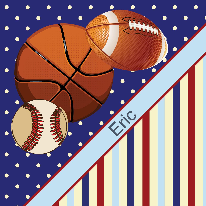 Blue Boys Sports Themed Shower Curtain With Baseball