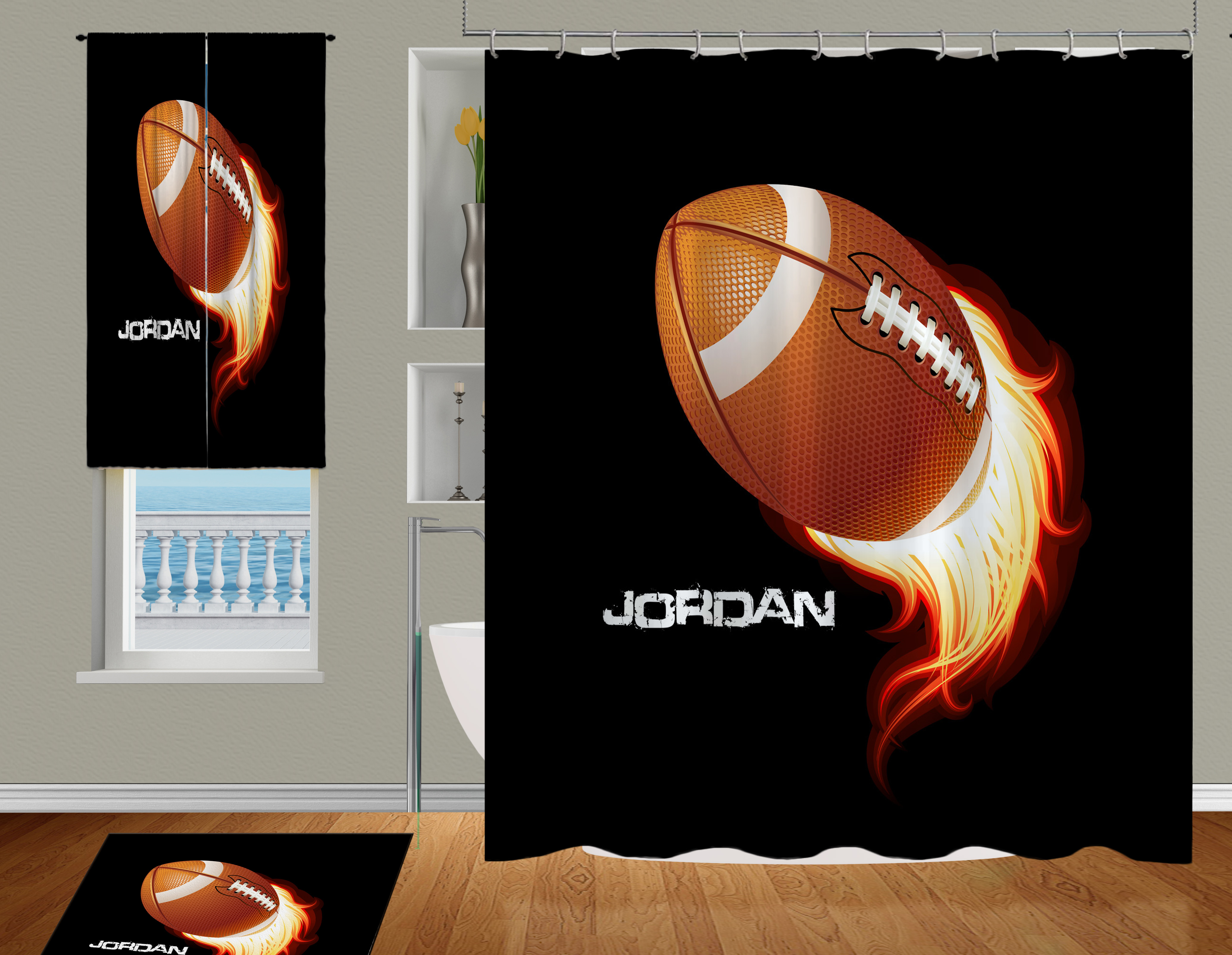 Football Shower Curtain For Boys With Flames And Personalization 95