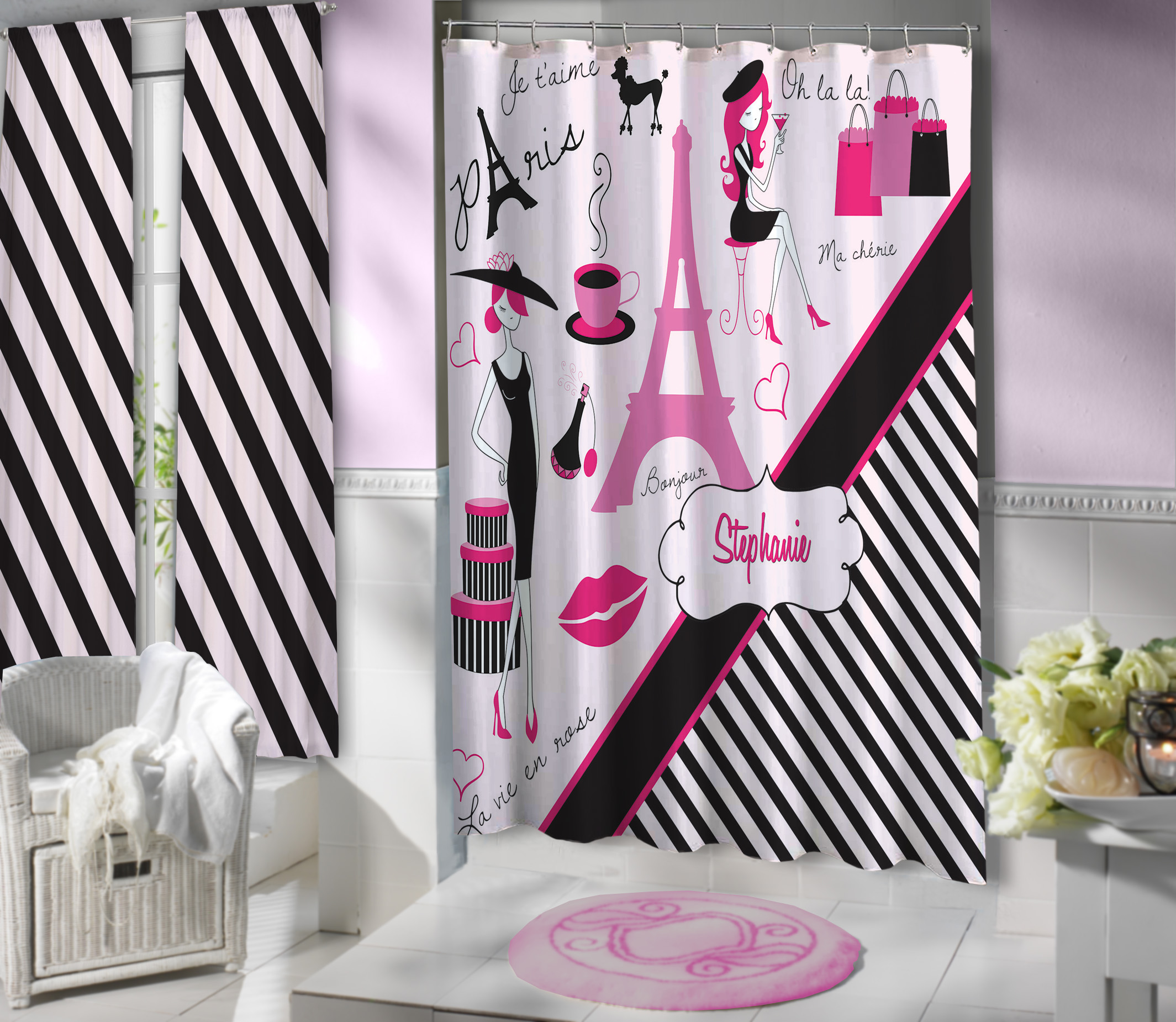 Black Striped Eiffel Tower Shower Curtain Paris Girls Bathroom Set
