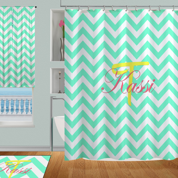 college aqua or teal colored shower curtain personalized