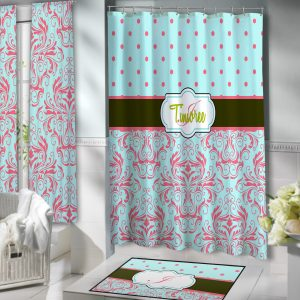 Teal-Damask-Shower-dots