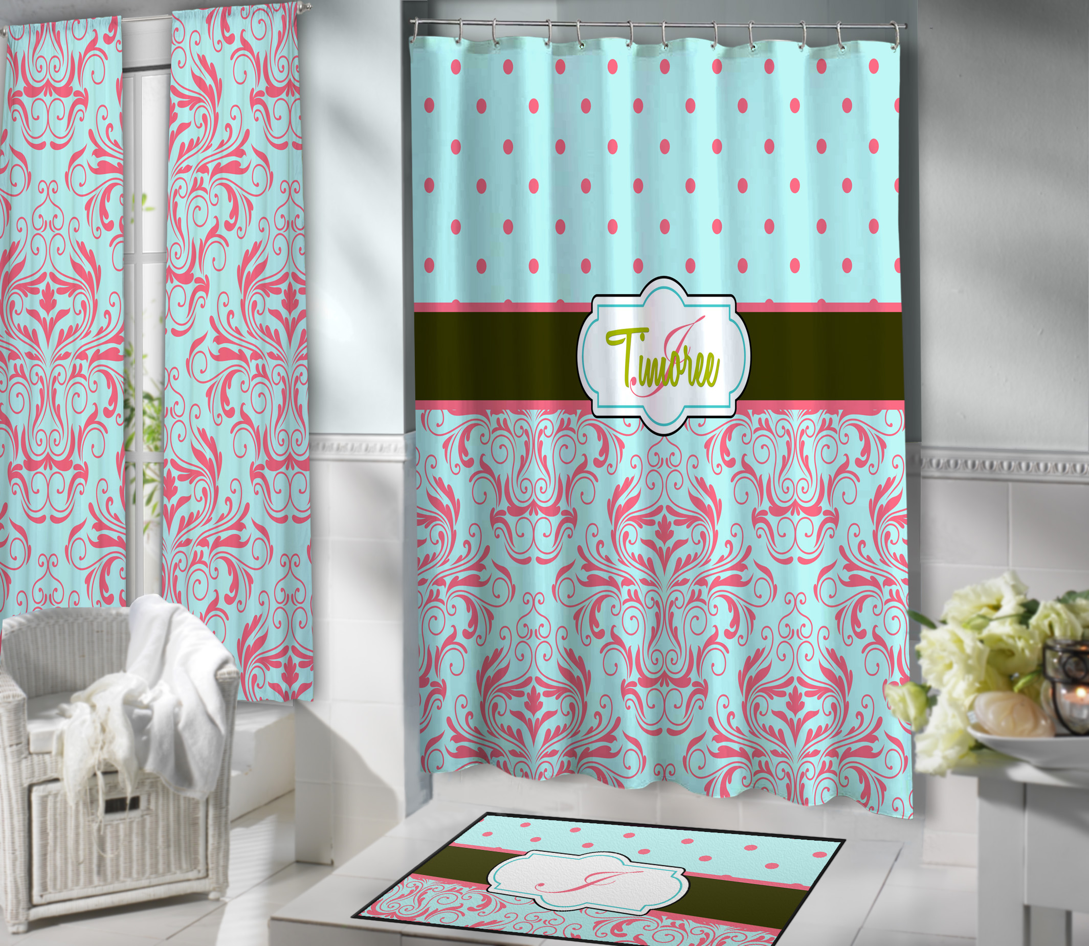 Teal Damask Shower dotsCoral Damask and Seafoam Green Personalized Shower Curtain with  . Coral And Teal Shower Curtain. Home Design Ideas