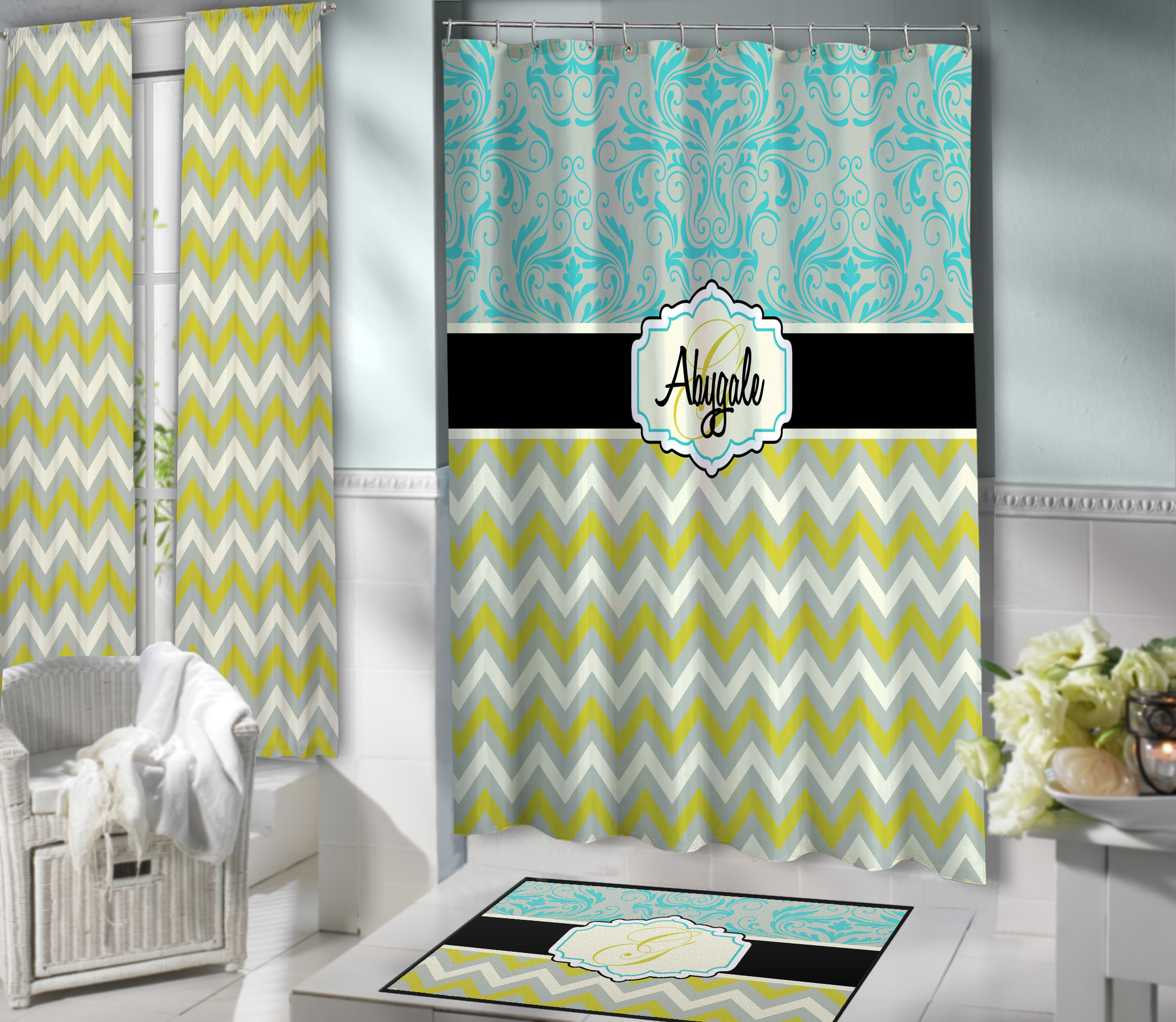 Olive Green And Blue Victorian Shower Curtain Designer Personalized Fabric Curtain 113