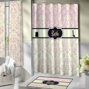 Light Pink Fashion Victorian Style Shower Curtain With Shopping Bags And Shoes 139