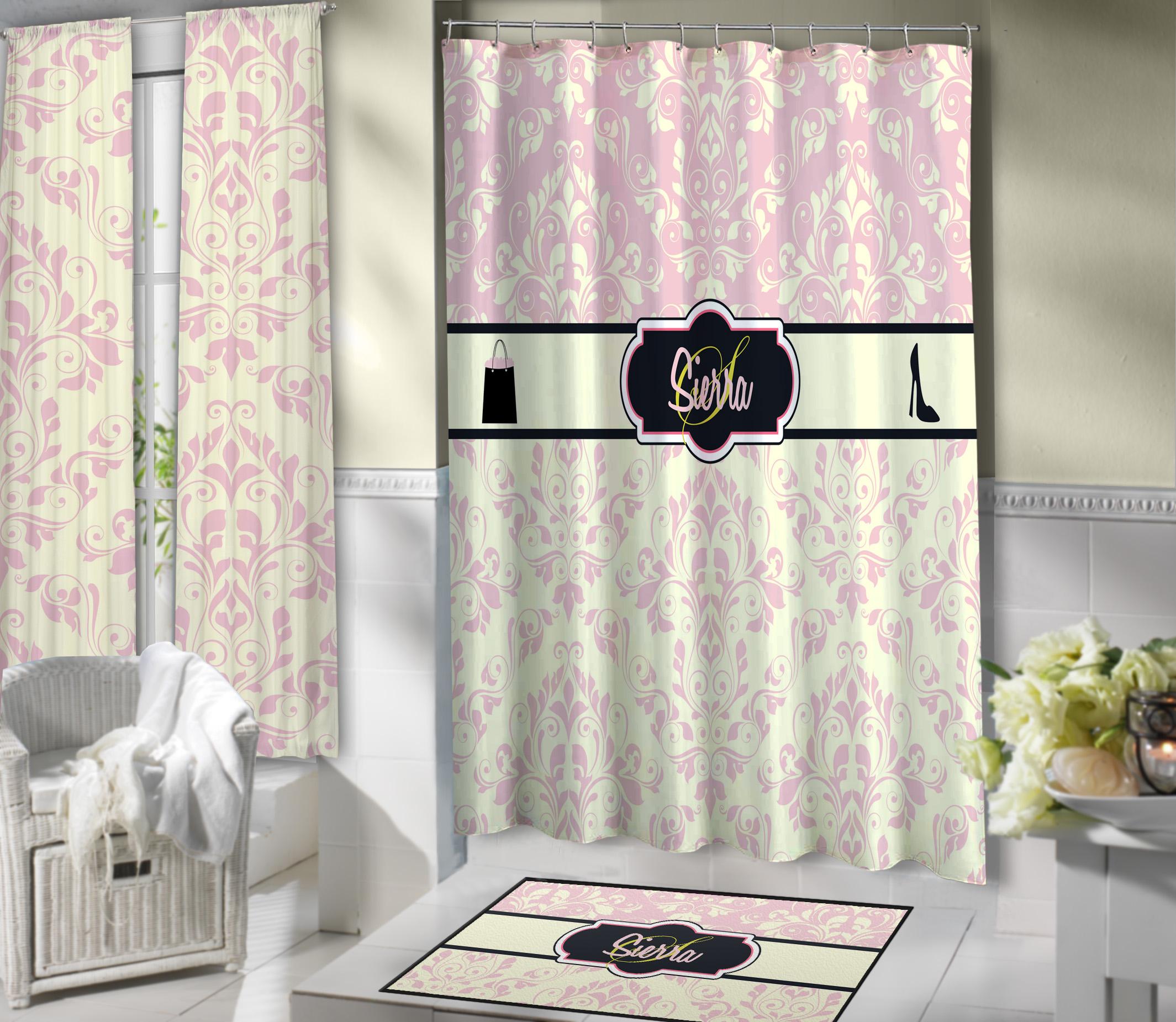Light pink fashion victorian style shower curtain with for Light pink shower curtain