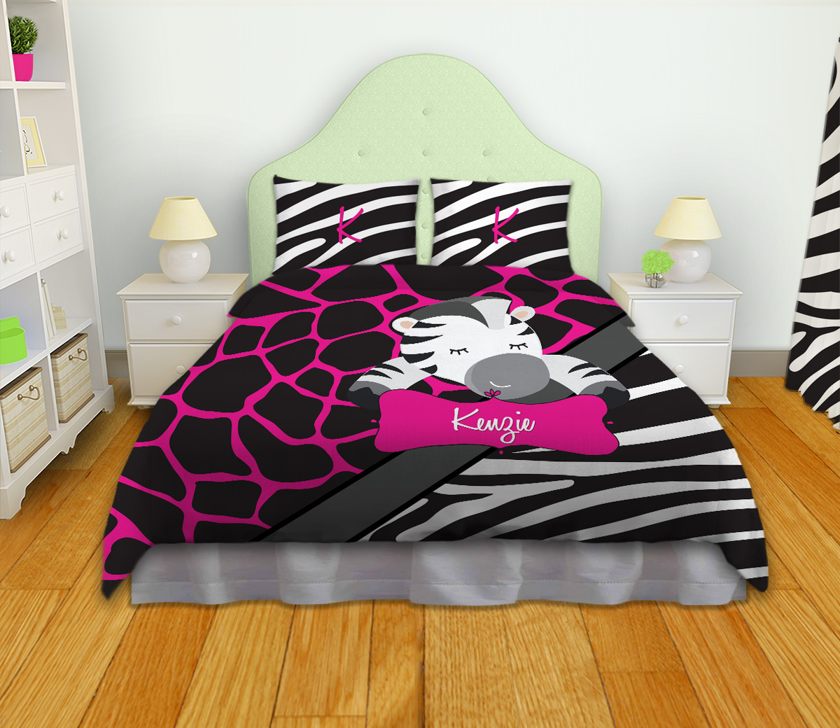Giraffe Pink Print Bedding With Black And White Zebra