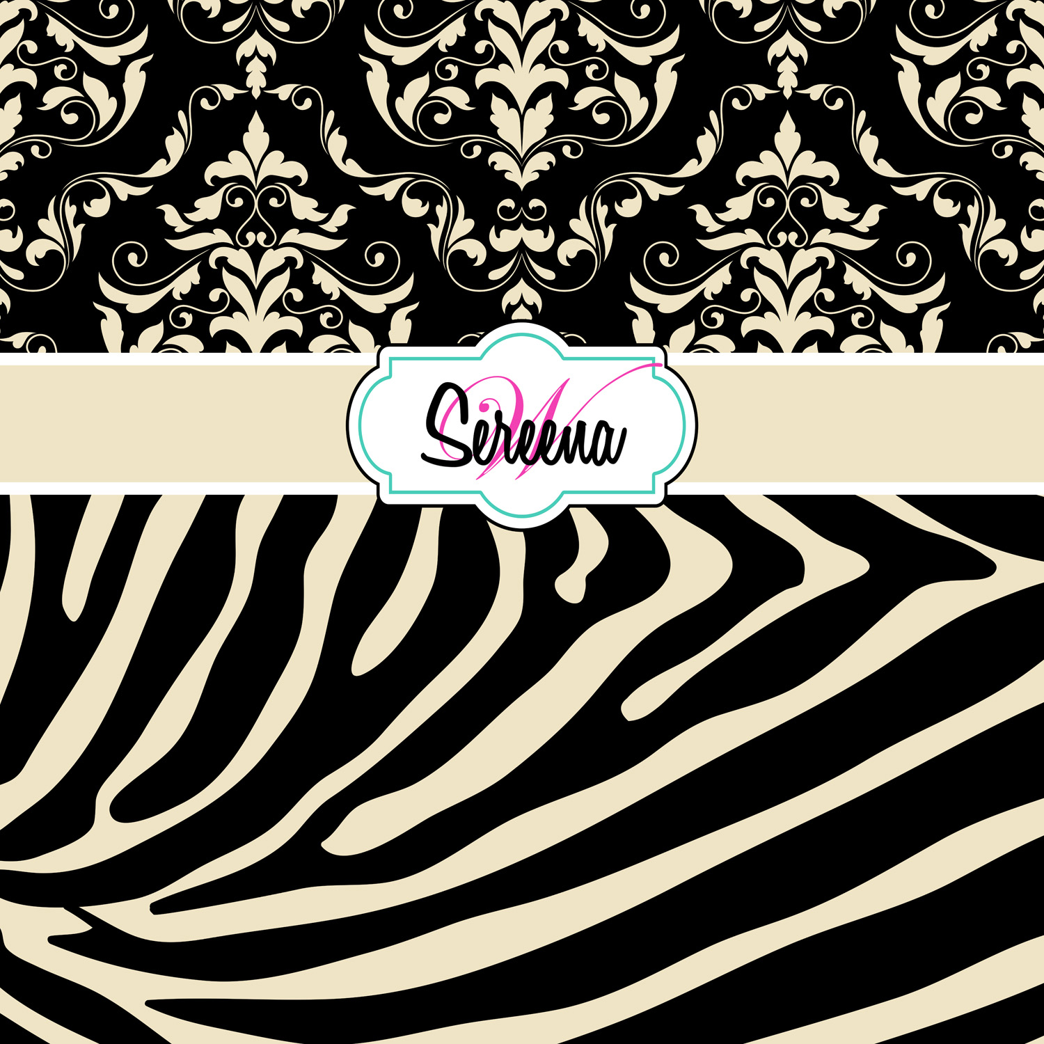 Black And Tan Vintage Looking Shower Curtain With Zebra