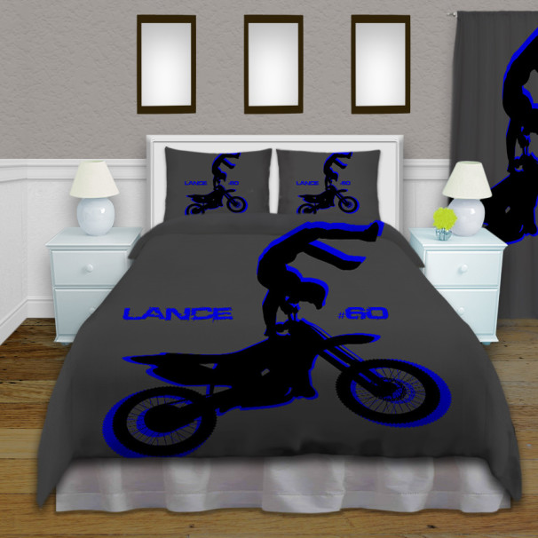 Motocross Blue Comforter Set For Kids Dirt Bike Rider