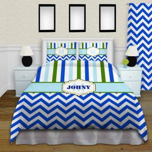 Blue-Green-Stripes-Comforter