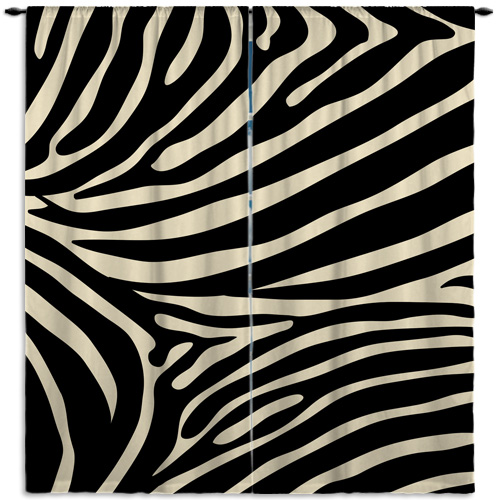Vintage Inspired Zebra Print Curtain Panels In Tan And