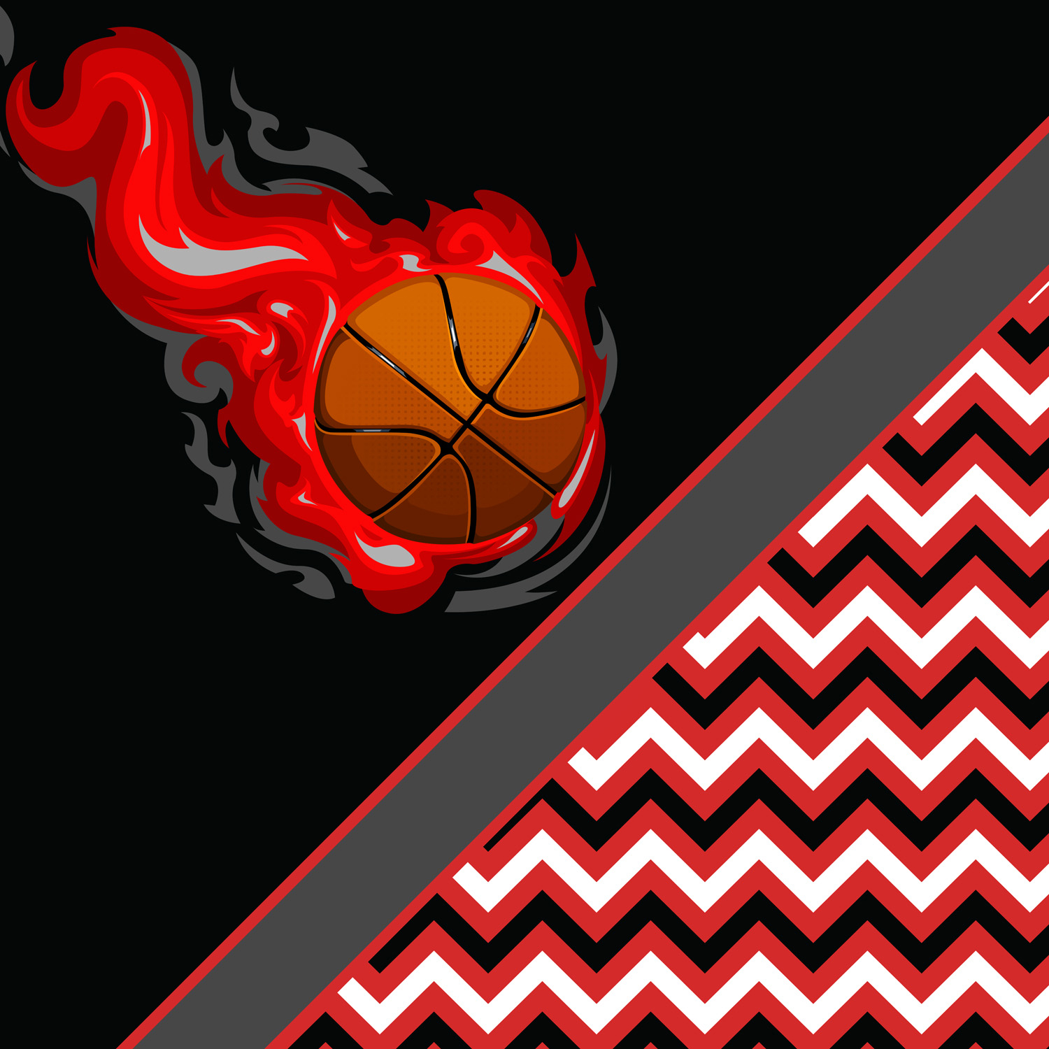 Chevron Black And Red Curtains For Basketball Themed Girls