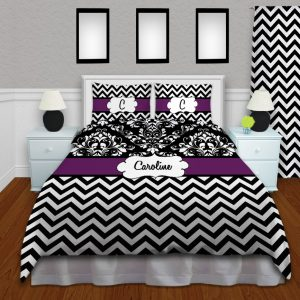 Chevron-Bedding-Black-Purple
