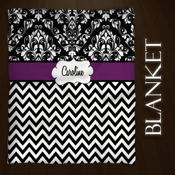 Chevron-Black-Purple-Blanket