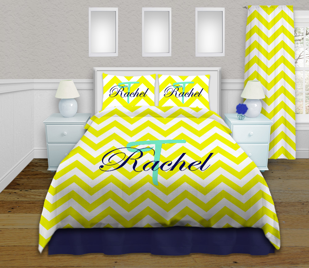 Colorful Dorm Room: Designer Yellow Dorm Bedding In Twin XL, Matching