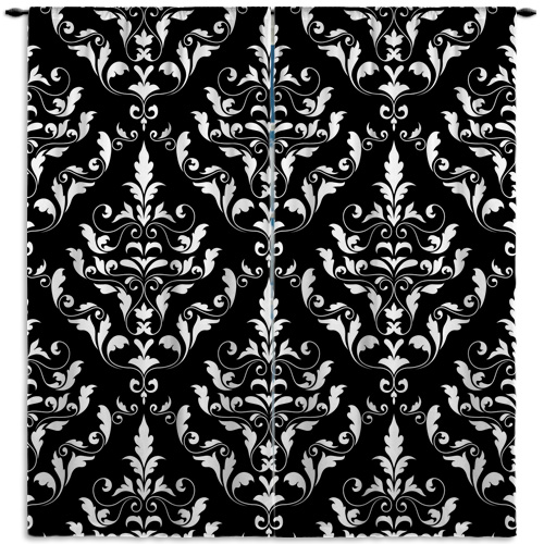 Damask-Curtain-Panel-Black-White