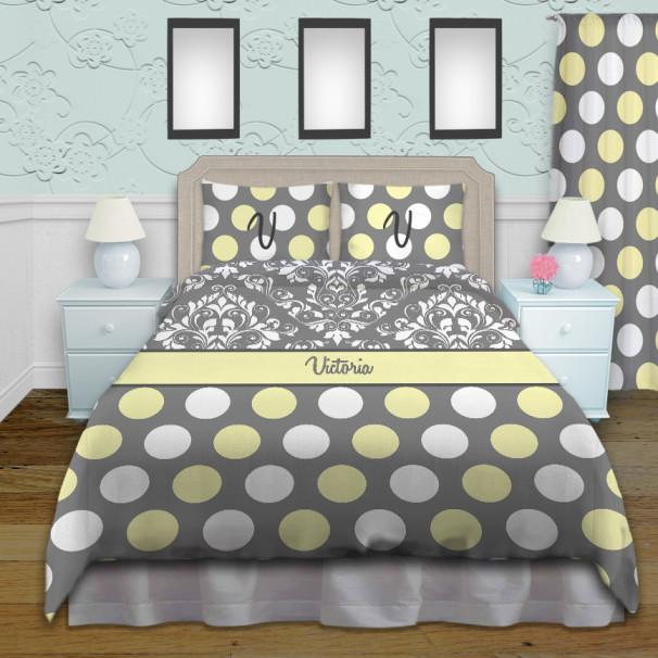 Damask-Dots-Yellow-Gray-Bed