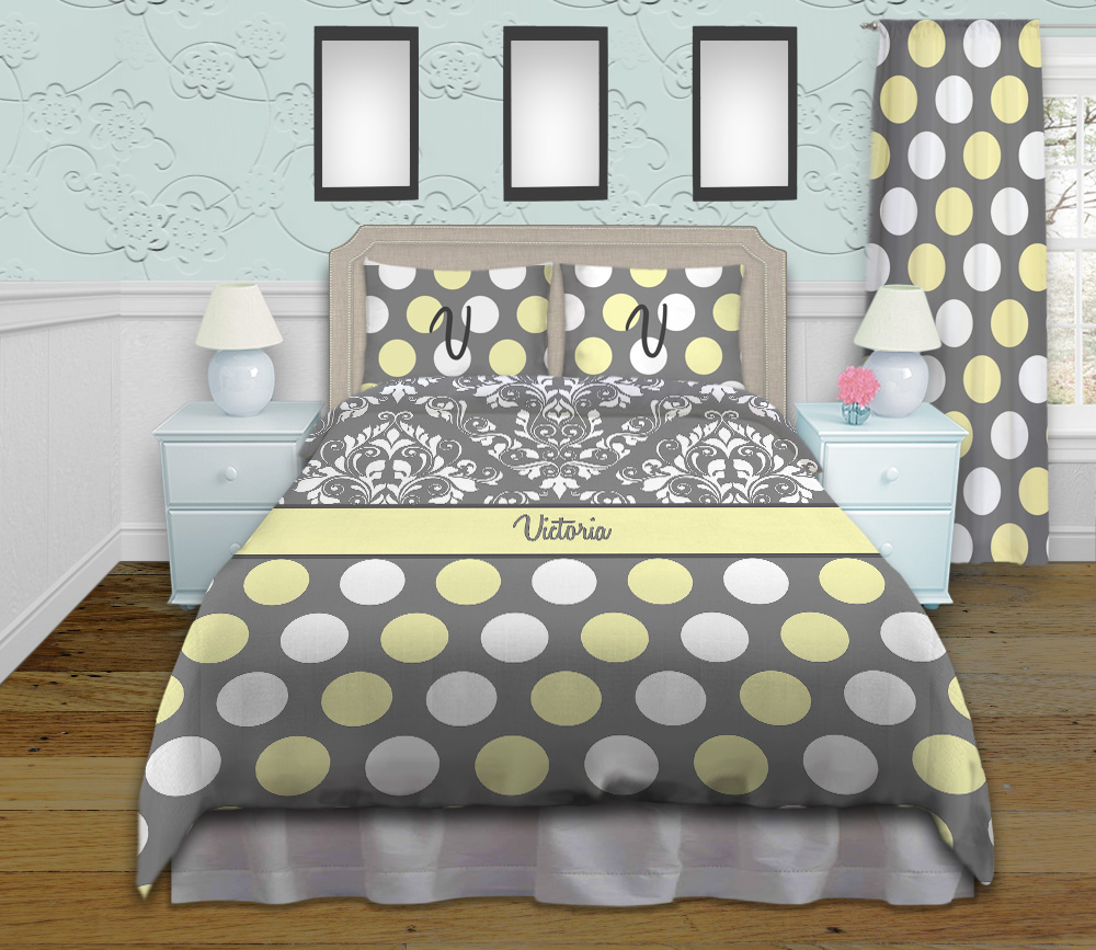Gray And White Damask Queen King And Twin Bedding With