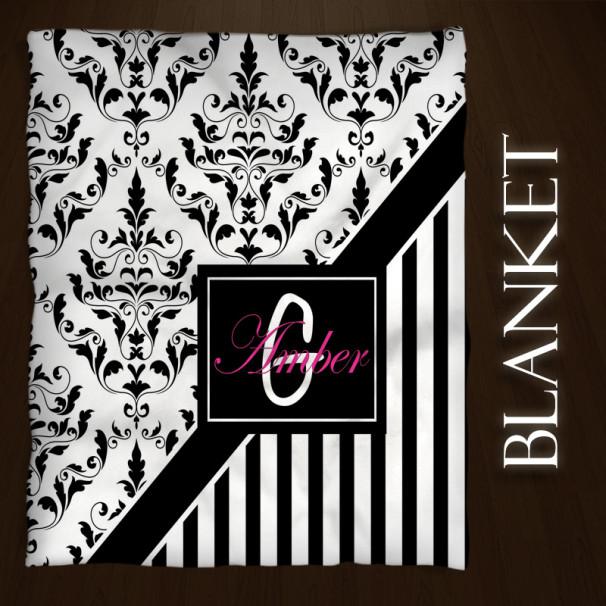 Damask-Pink-Black-Blanket
