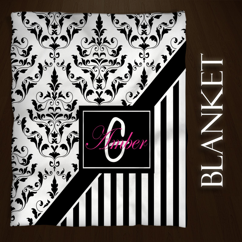 Damask-Pink-Black-Blanket