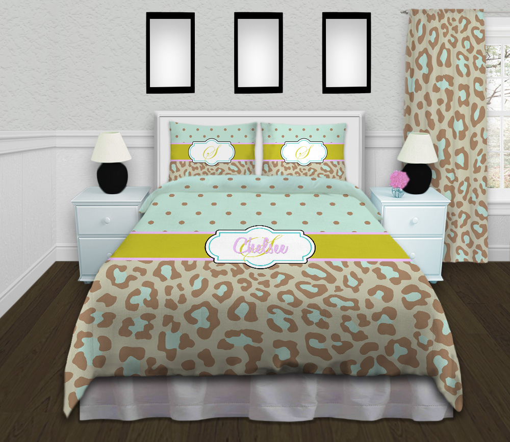 Mint Green Cheetah Print Kids Comforter Blue And Brown