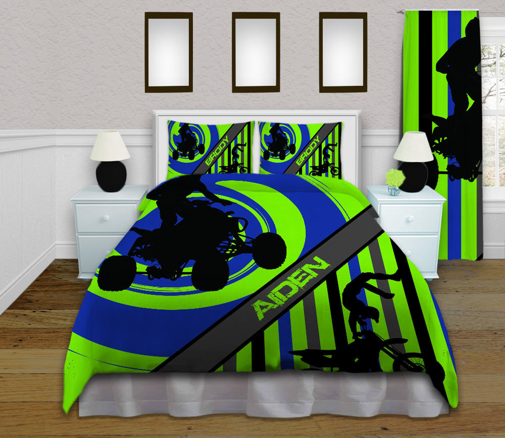 Boys Green And Blue Dirt Bike Sports Bedding Set With