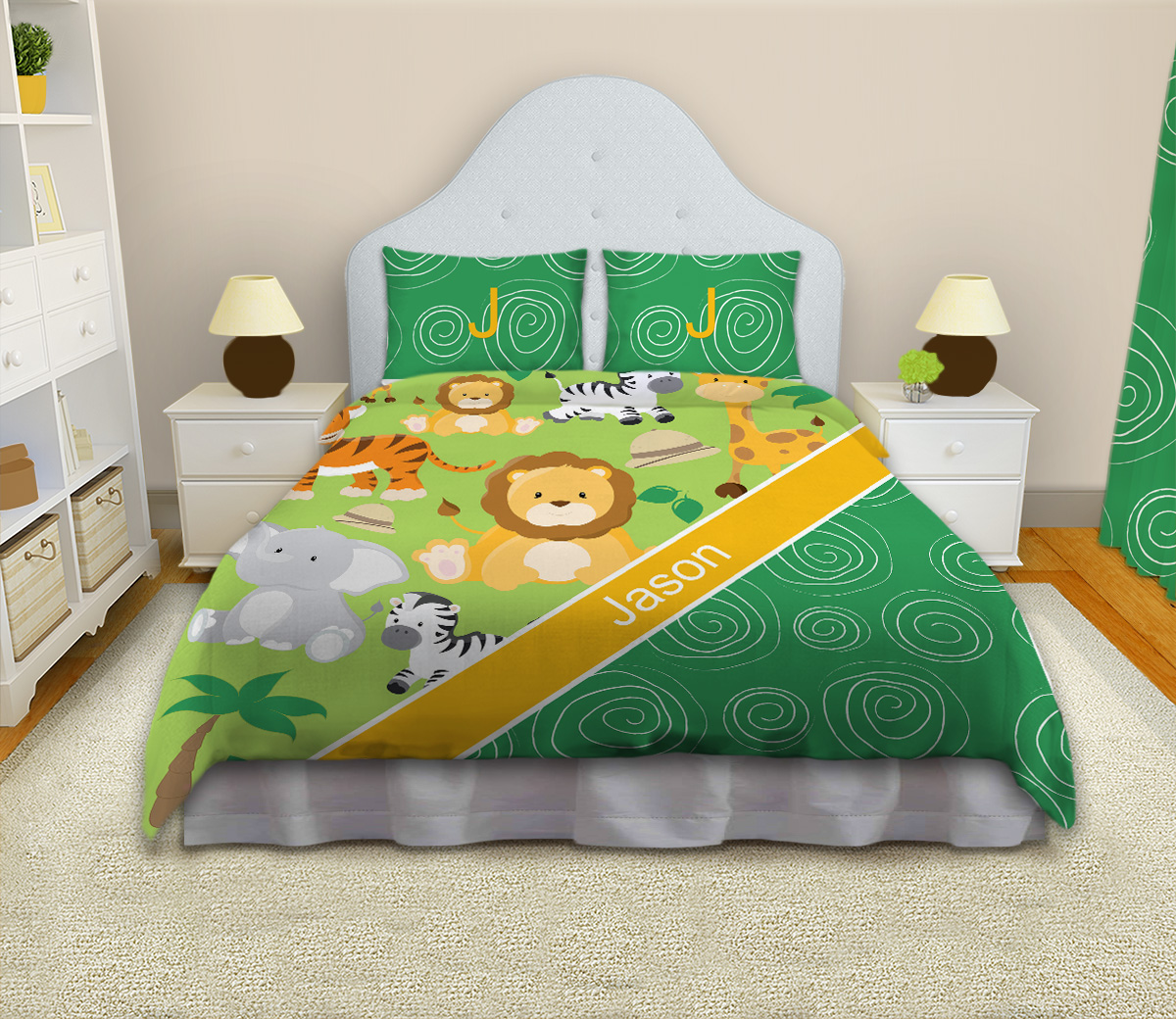 Safari Green And Yellow Kids Bedding Jungle Theme