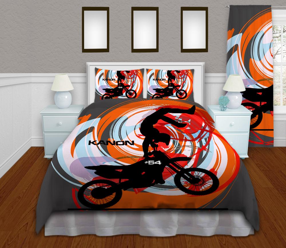 Motocross-Orange-Duvet-cover