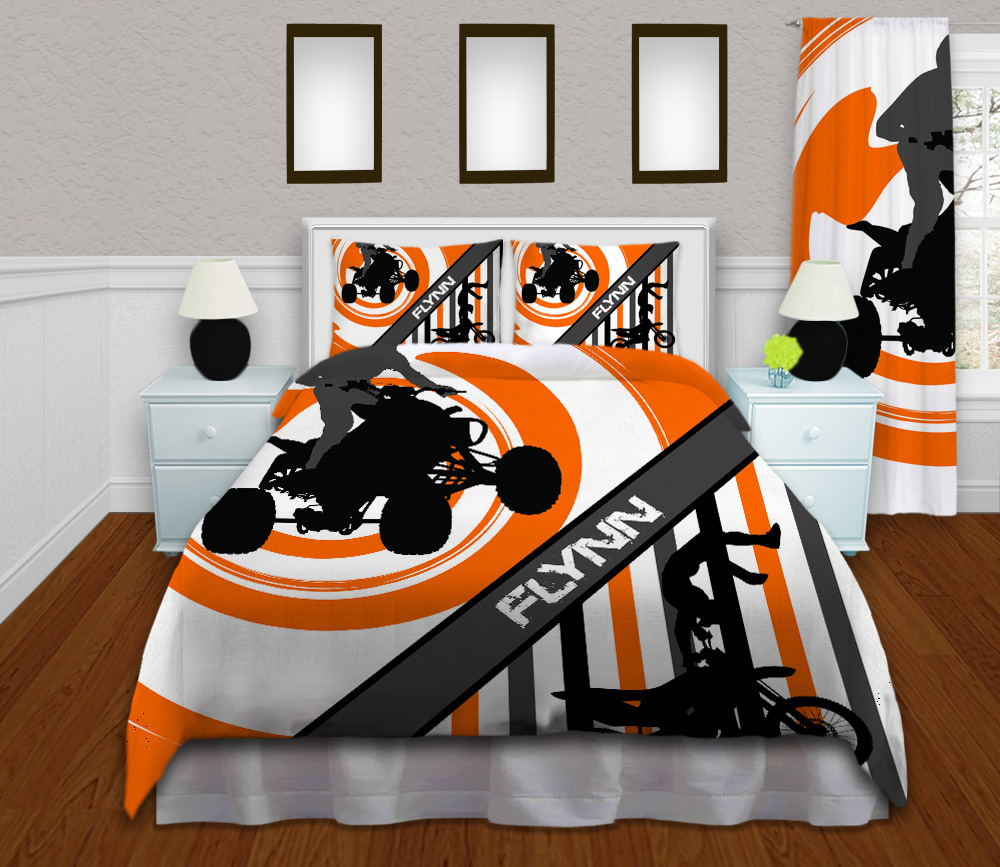 Atv Bedding With Motocross In Orange With Stripes 154
