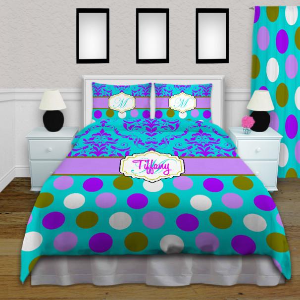 Purple-Teal-Damask-Bedding