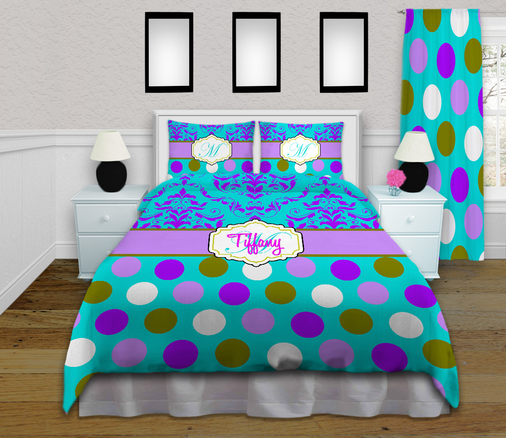 Purple Green And Teal Duvet Cover Or Comforter Set