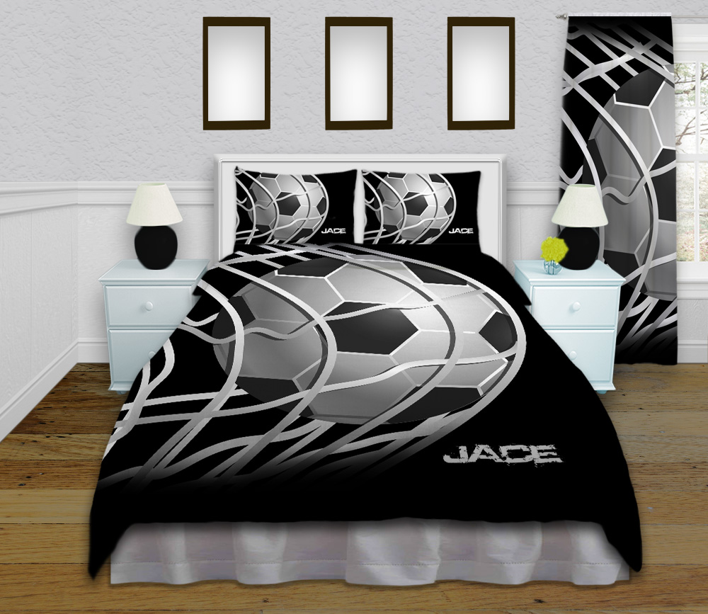 Soccer Theme Black And White Kids Bedding With