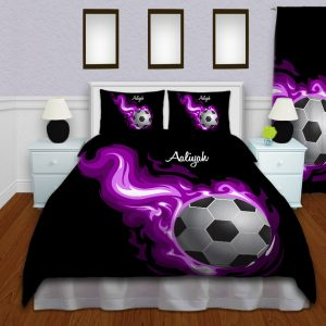 Soccer-Flames-Girl-Duvet-Cover