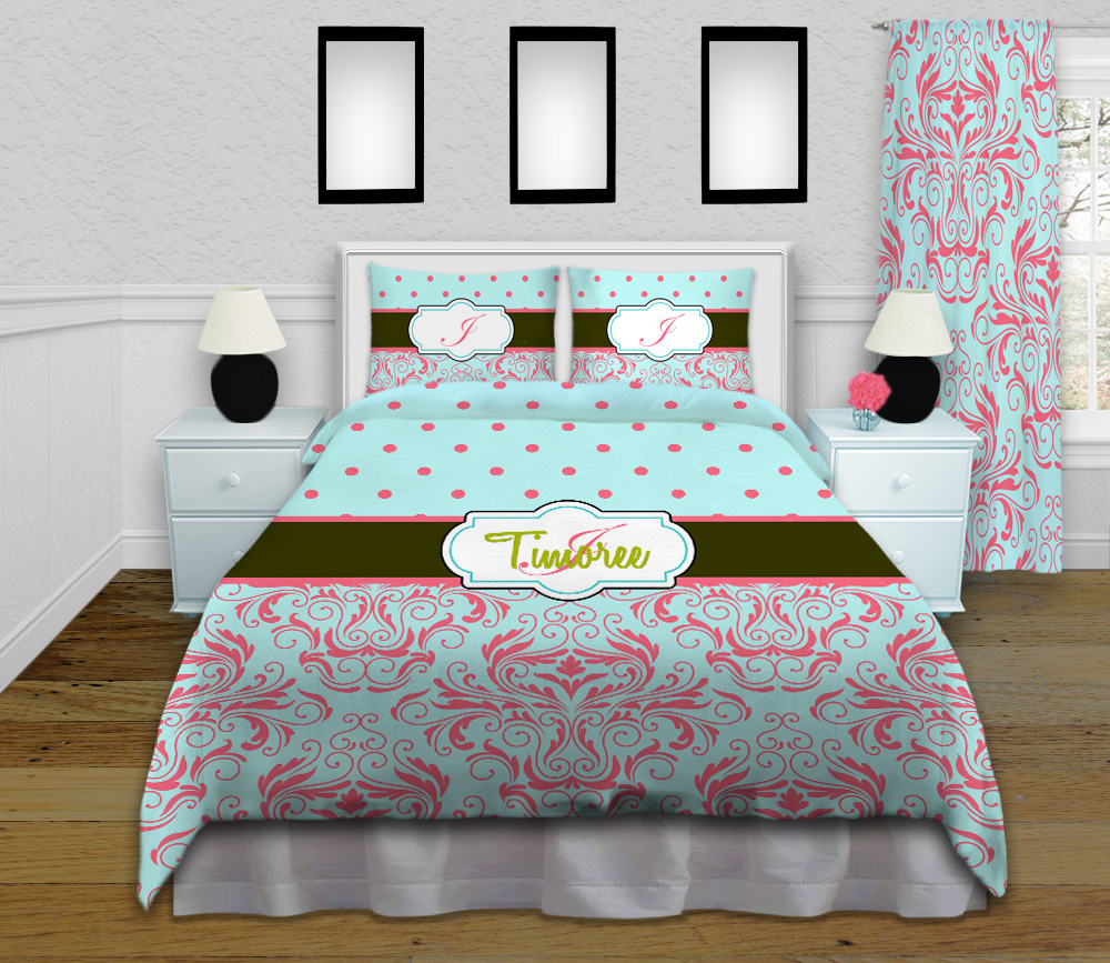 sophisticated kids bedding set in mint green and coral