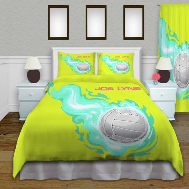 Girls Volleyball Yellow Comforter Queen Sports Bedding