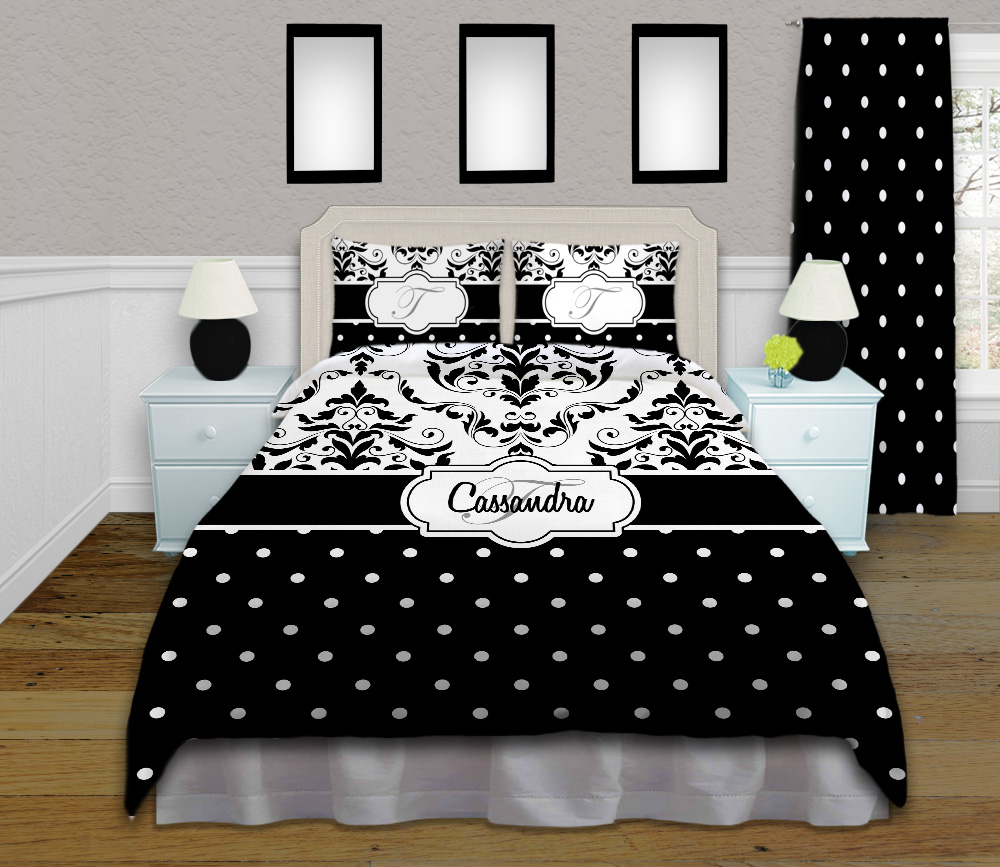 Black And White Polka Dot Bedding With Damask Pattern