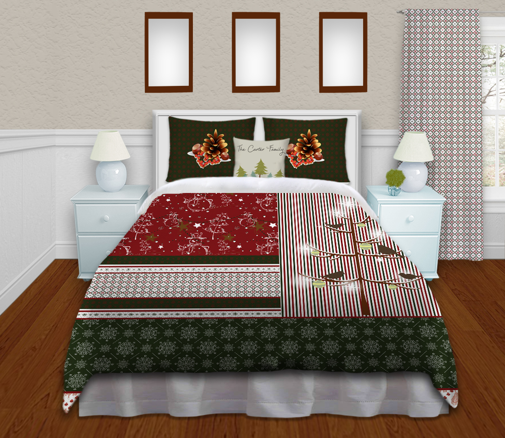 Holiday Personalized Bedding Set In A Christmas Theme With