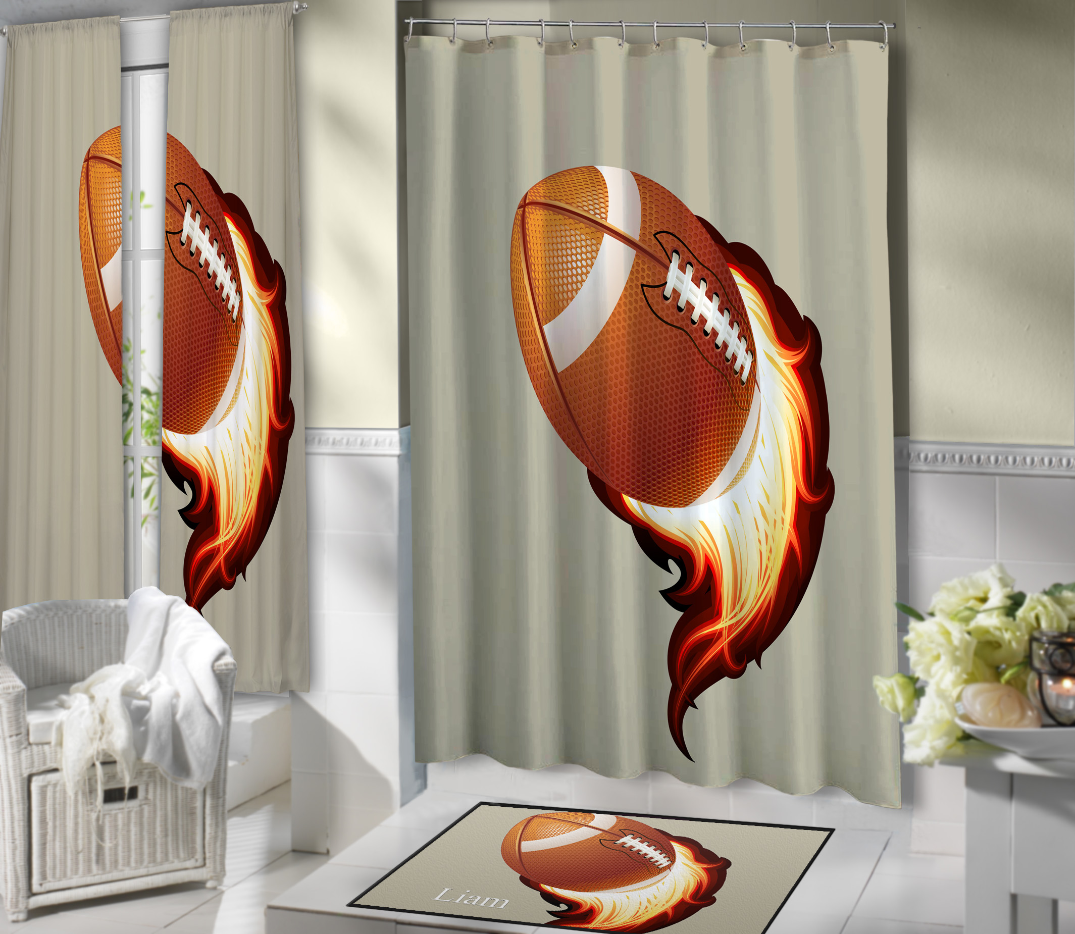 Tan Football Boys Shower Curtain For Bathroom Sport